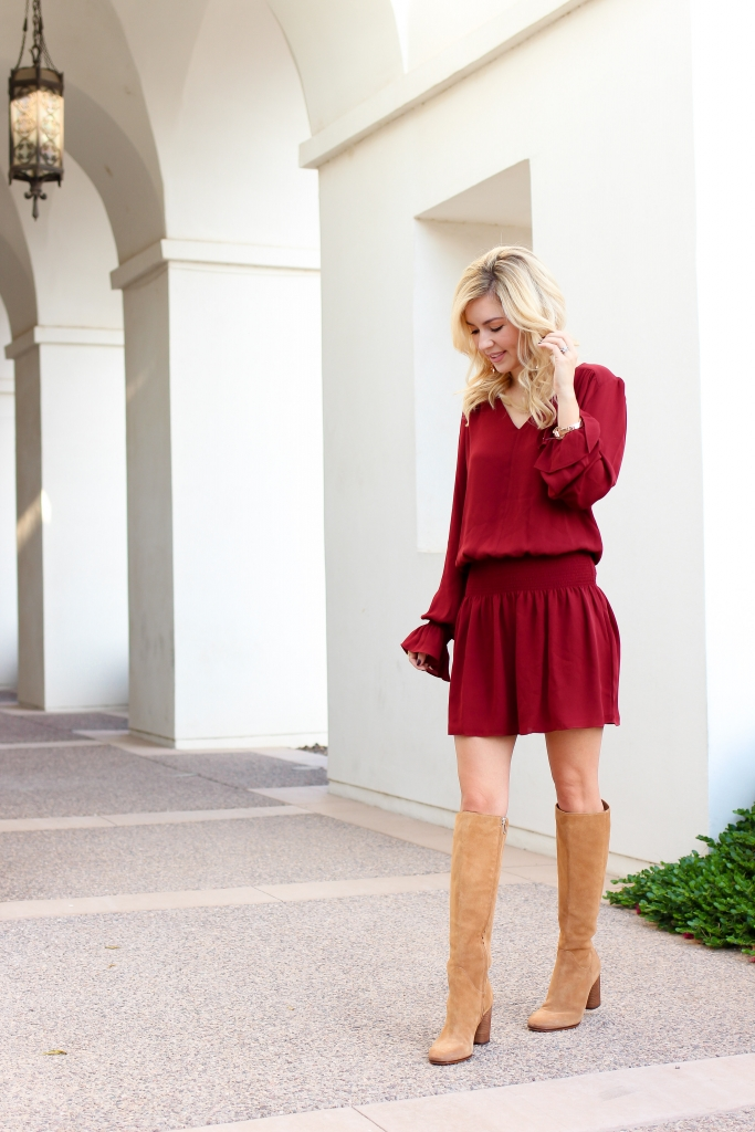 Simply Sutter - Drop Waist Dress - Nordstrom - fall dress - tall boots