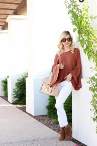 Simply Sutter - bell sleeve sweater - off the shoulder sweater - fall white jeans - fall style