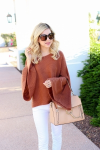 Simply Sutter - bell sleeve sweater - off the shoulder sweater - fall white jeans - fall style - chloe faye day