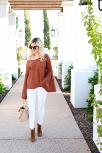 Simply Sutter - bell sleeves - orange sweater - off the shoulder sweater