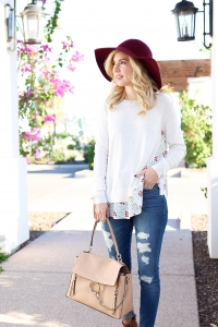 Simply Sutter - Fall outfit - burgundy floppy hat - fall style
