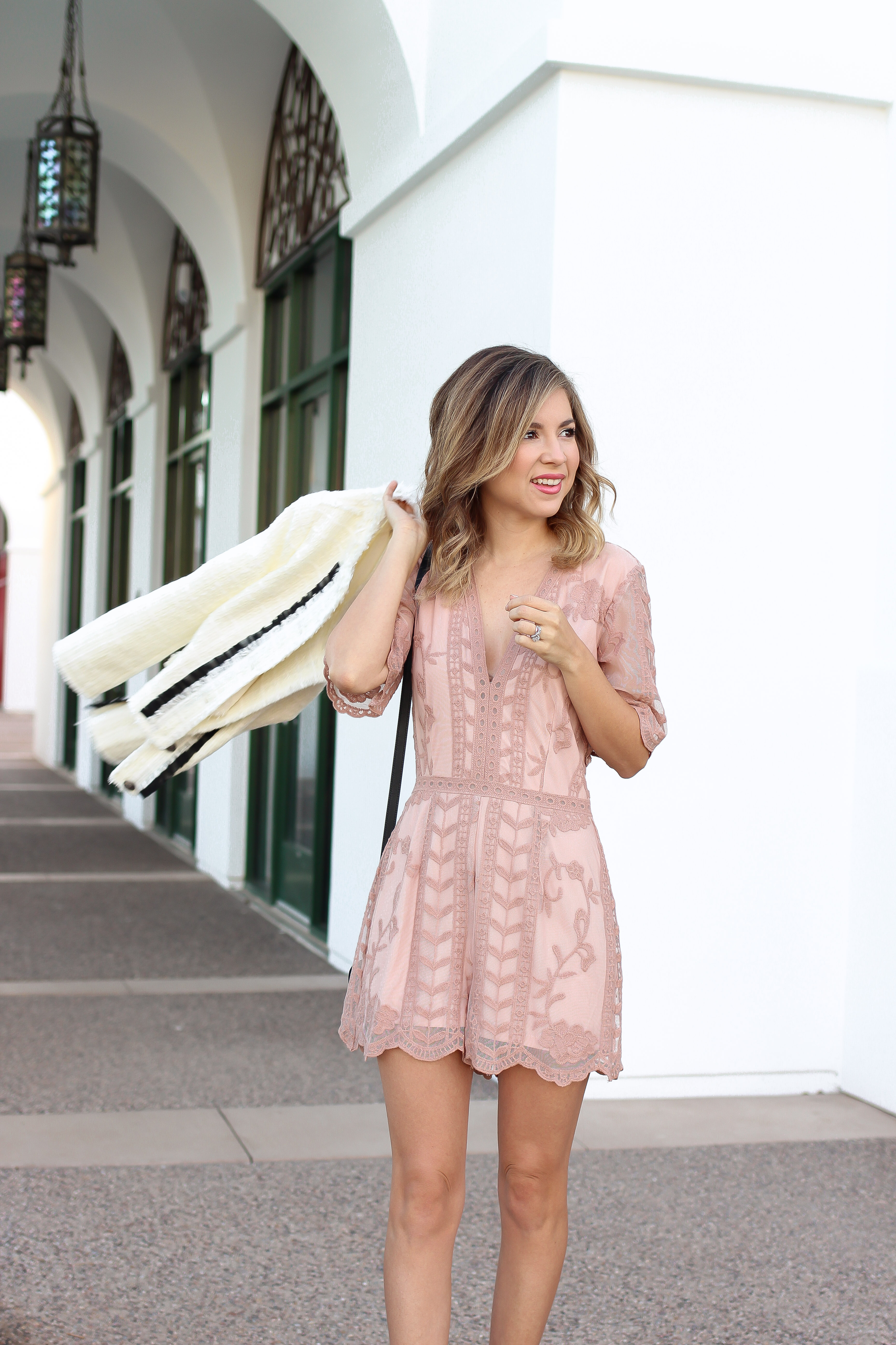 a84246de15b Simply Sutter – valentines day outfit – boucle jacket – pink romper – spring  outfit – lace romper0566