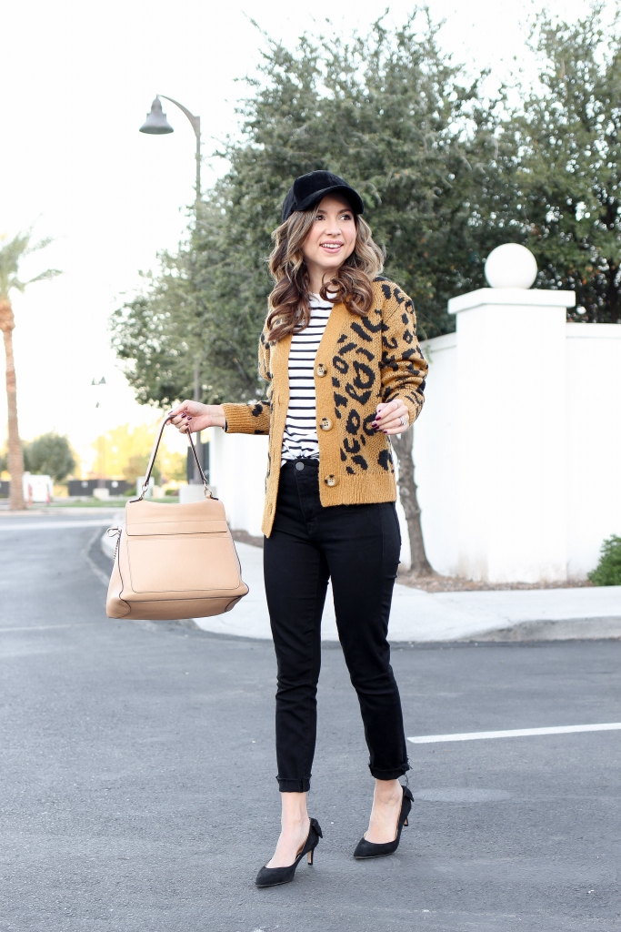 leopard cardigan and stripe top