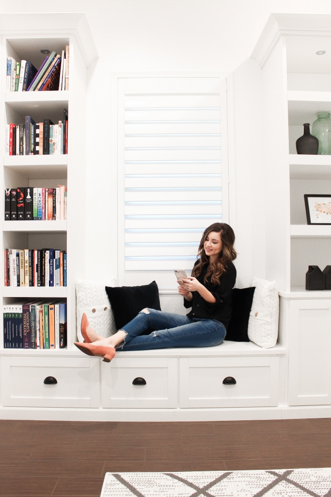 built in bench reading nook inside office