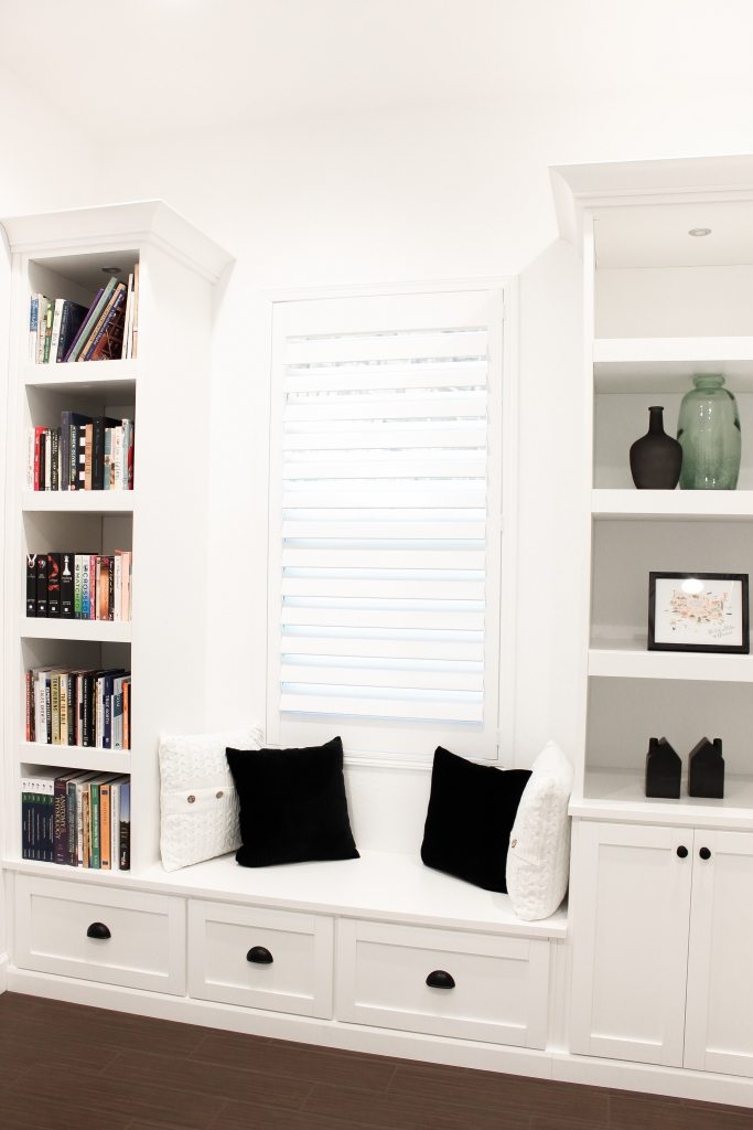 built in reading nook inside home office