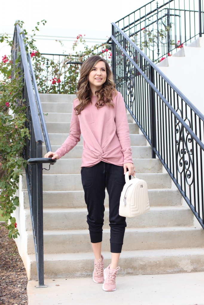 casual athletic jogger outfit with pink sneakers from nike