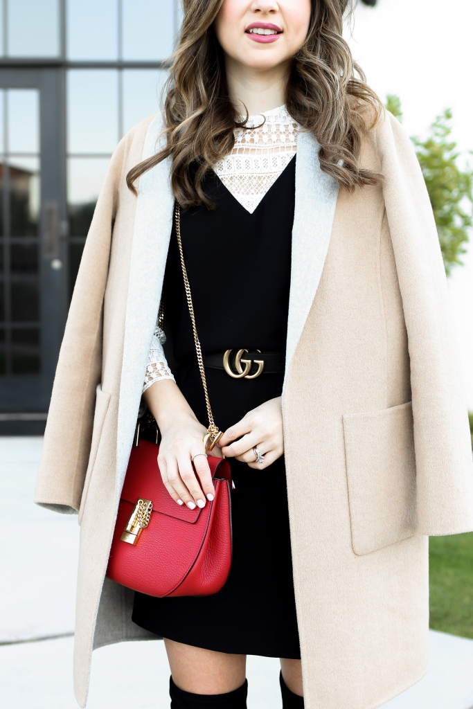 carmel peacoat with black dress and gucci belt