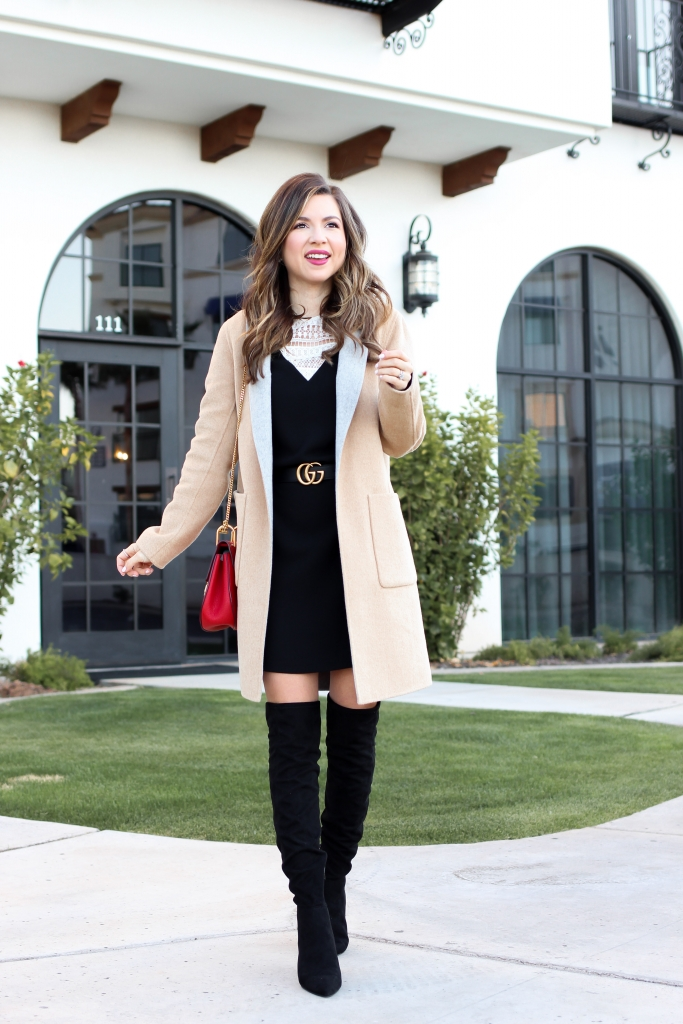 lace shift dress outfit with winter coat and over the knee boots