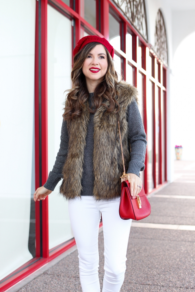 how to wear a faux fur vest in the winter