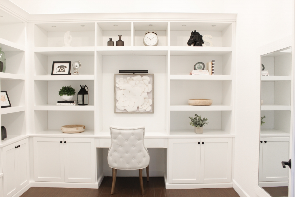 white built in office with large shelves and farmhouse decor