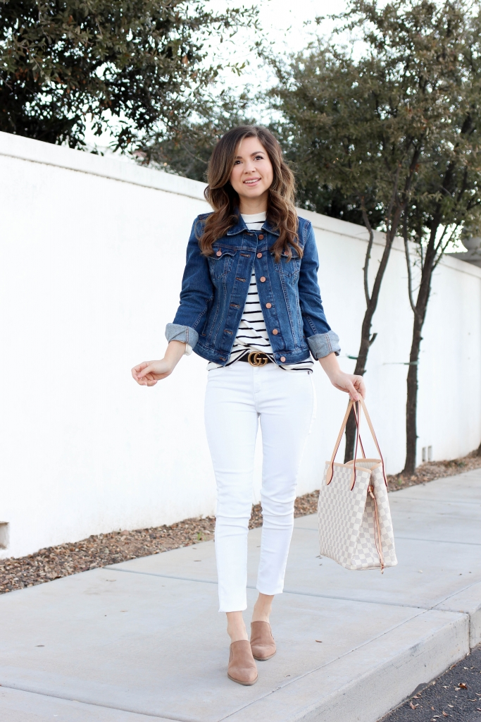 how to style a denim jacket with white jeans and a mules