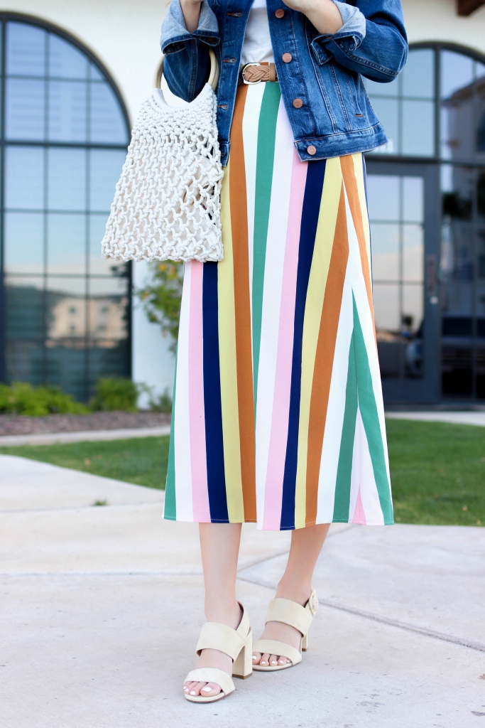 multi colored stripe skirt outfit