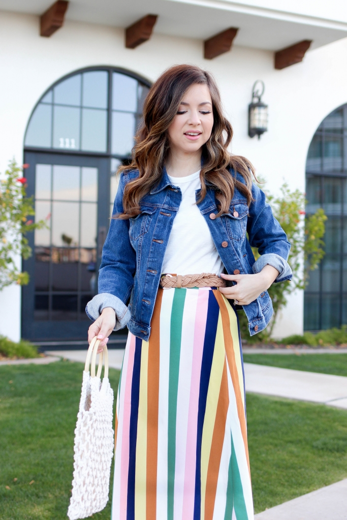 Multi colored striped skirt