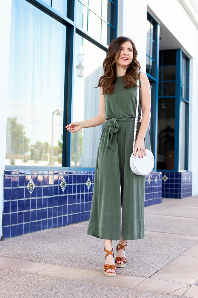 the softest olive green jumpsuit for women with wedges from banana republic