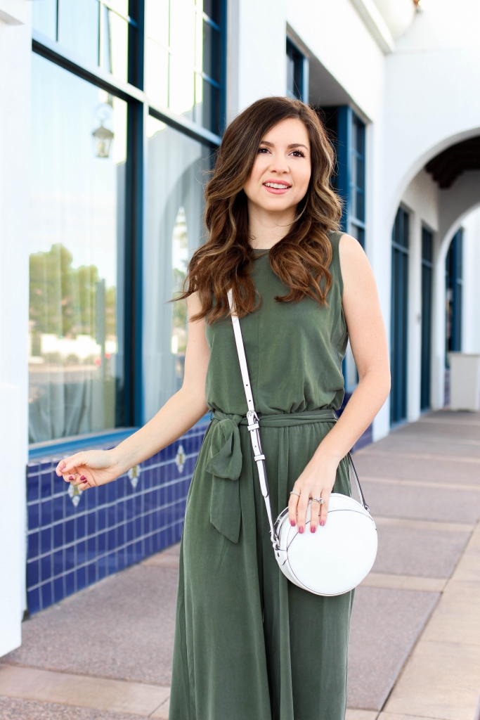 The softest olive green jumpsuit from Banana Republic