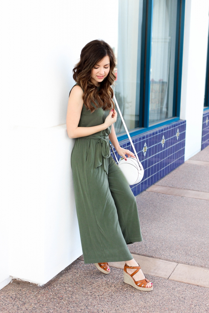 the softest olive green jumpsuit with wedges from banana republic