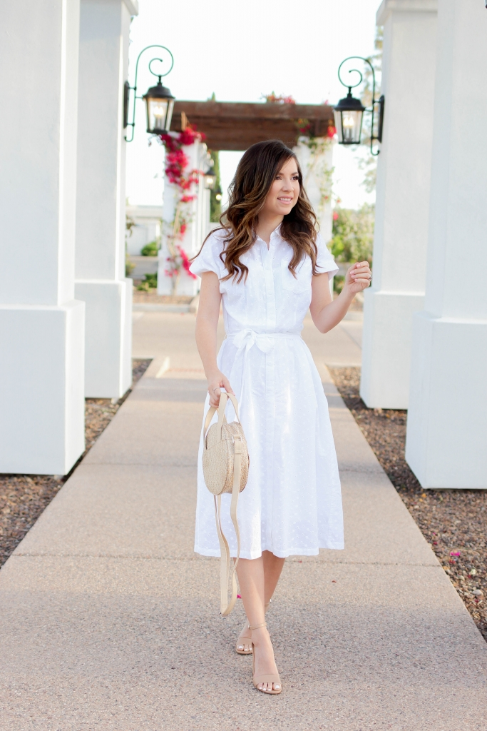 white cotton dress outfit