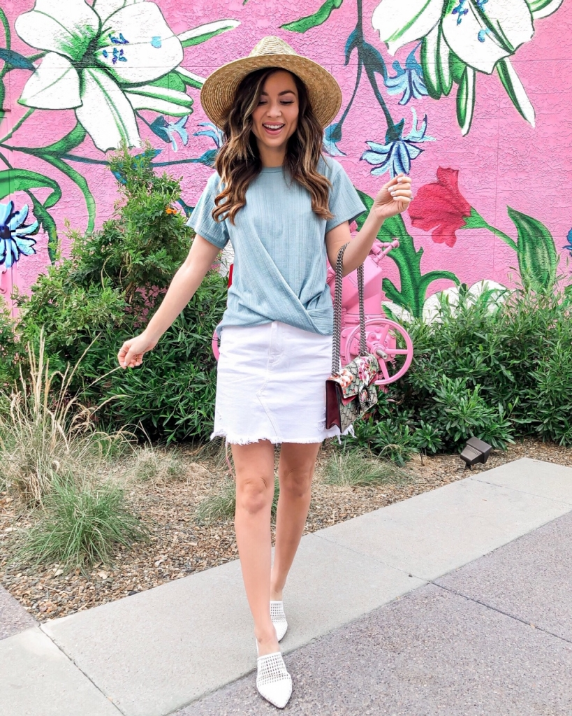 white denim skirt outfit with white mules