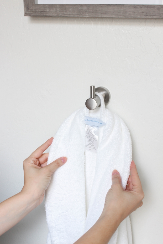 white guest bathroom robe