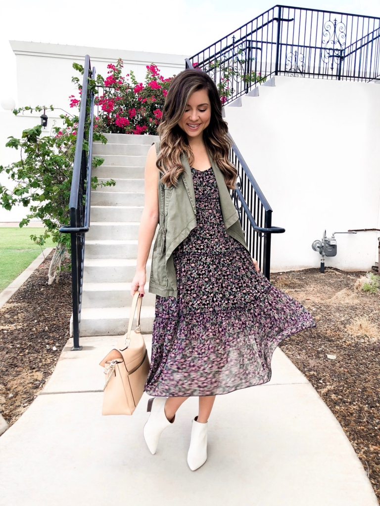 dress and vest outfit for fall
