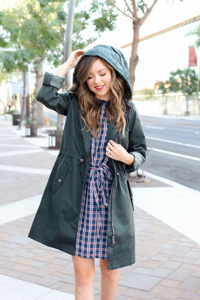 hooded raincoat outfit