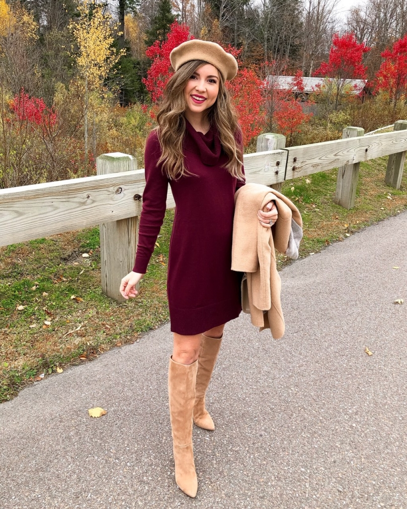 burgundy sweater dress and knee high boots