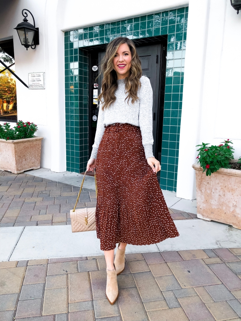 polk dot skirt outfit