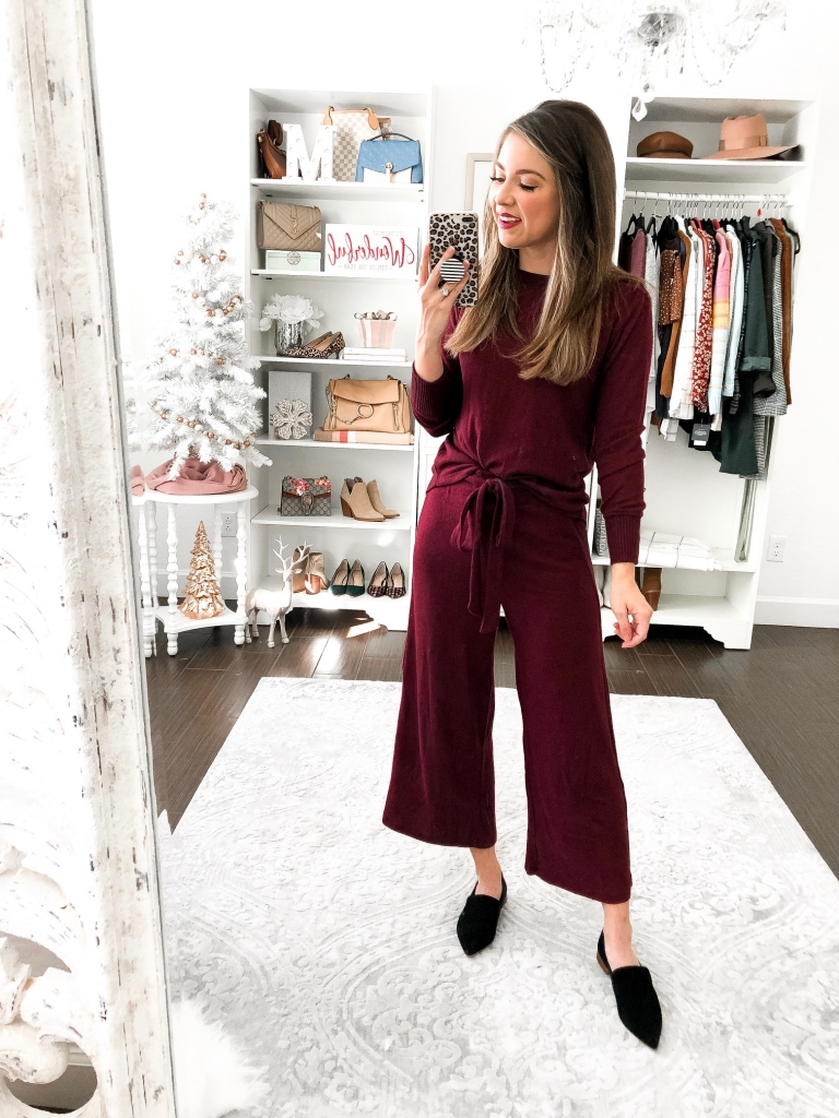 burgundy lounge pant set for thanksgiving