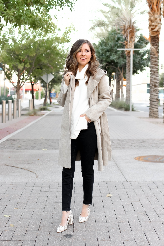 Beige hooded Bernardo coat