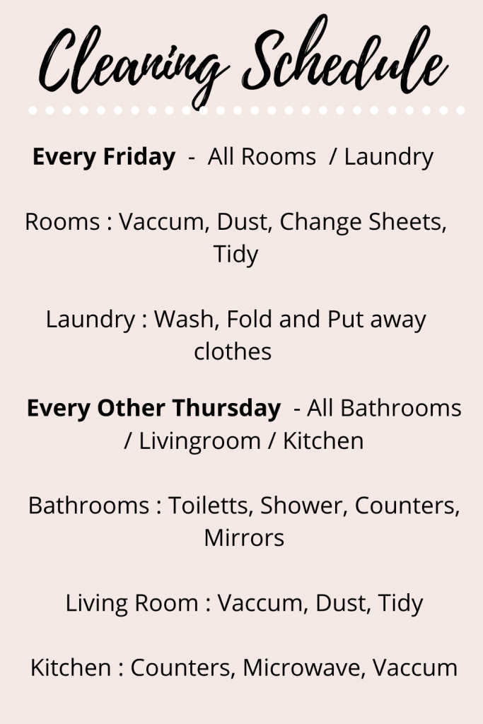 my cleaning schedule