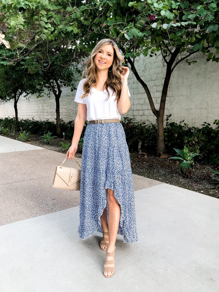 floral midi skirt outfit for spring
