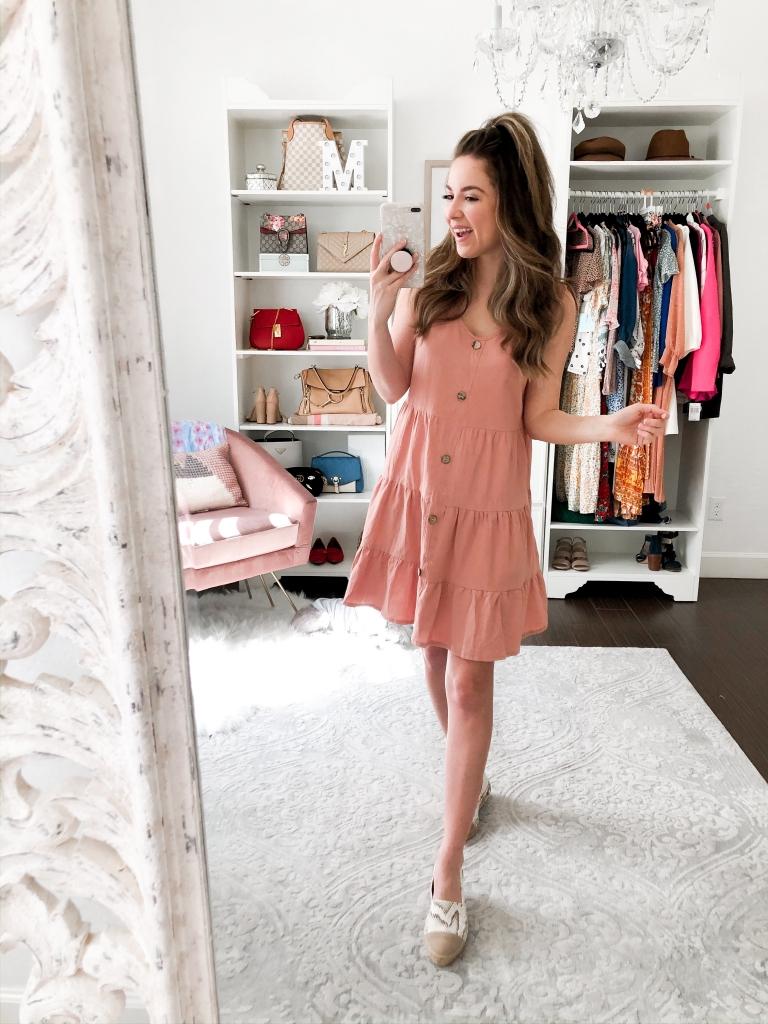 pink ruffle spring dress