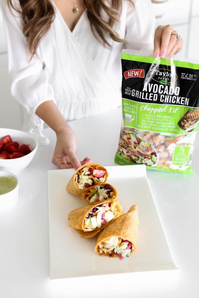 strawberry avocado chicken wraps