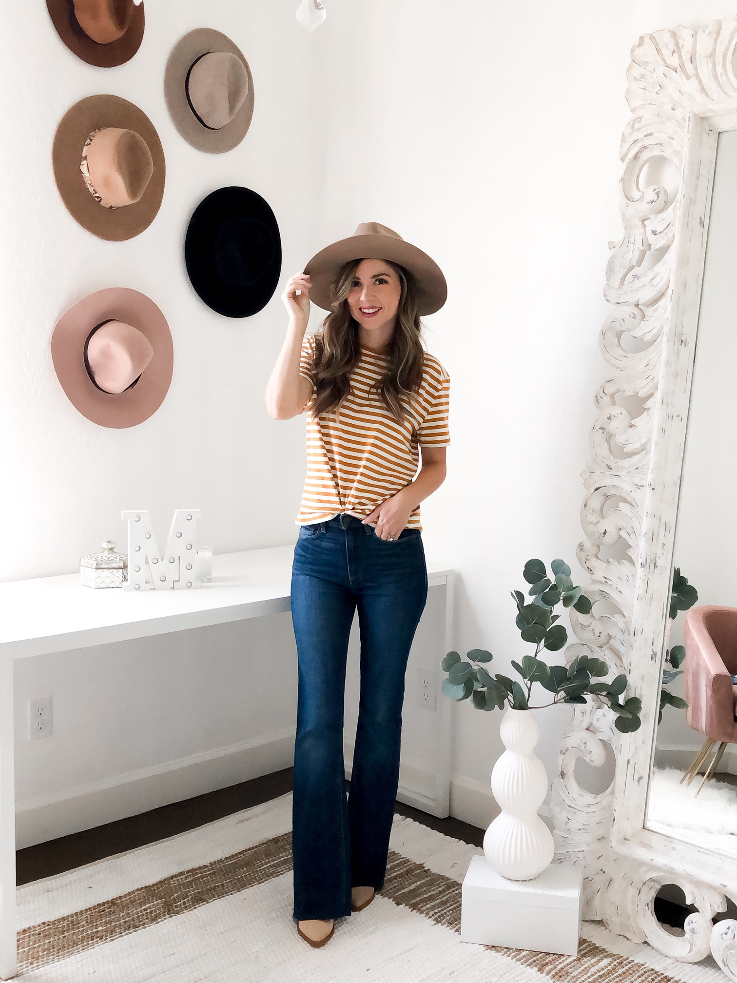 Everlane outfit with flare jeans