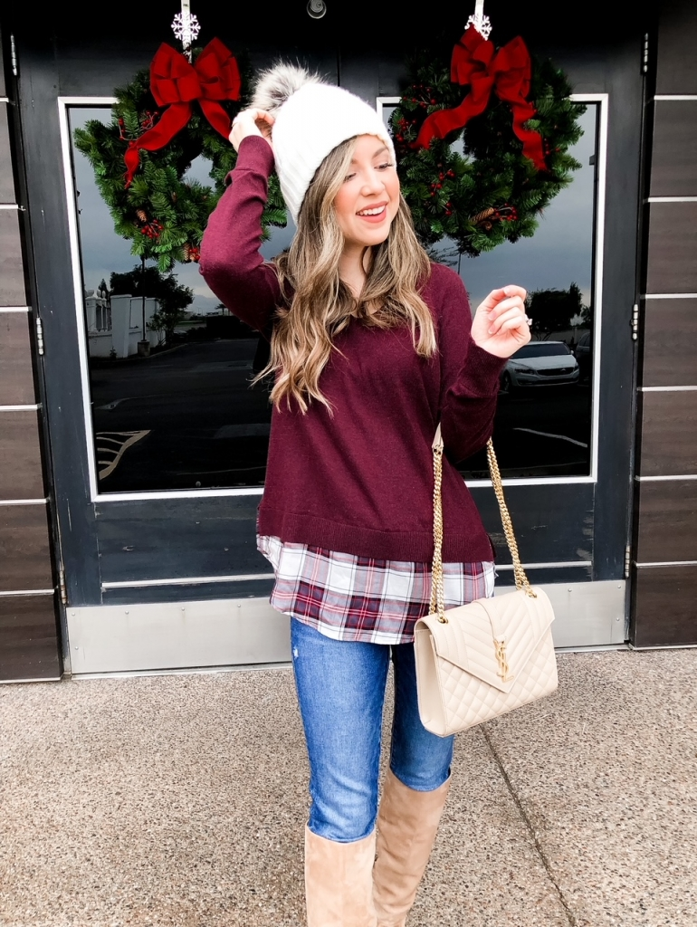 Plaid long sleeve outfit