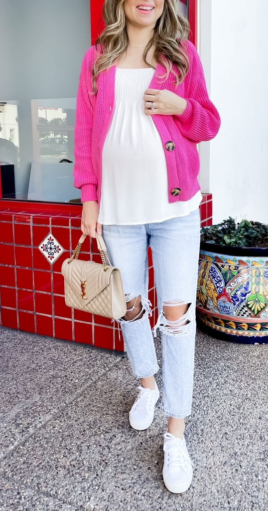 pink cardigan outfits