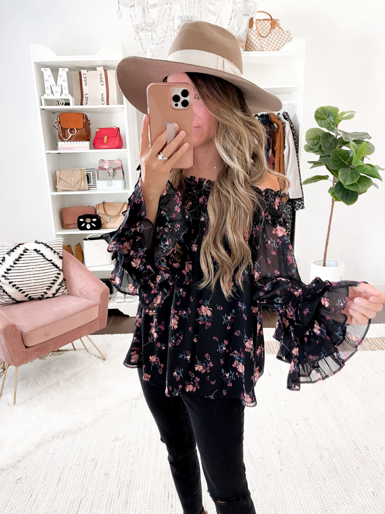 fall dark floral outfit