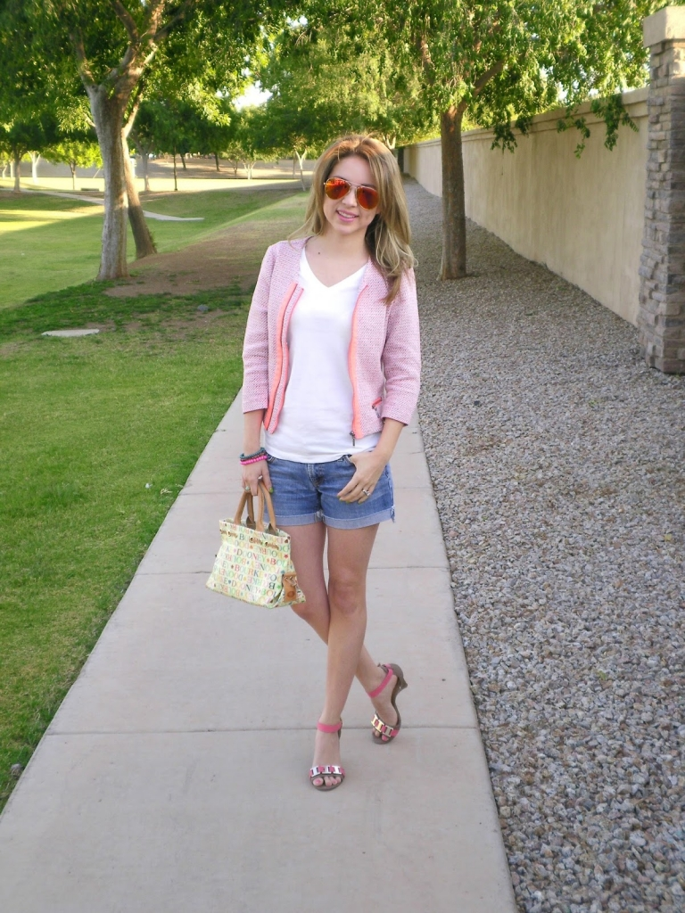 tweed jacket, bright sunglasses, denim