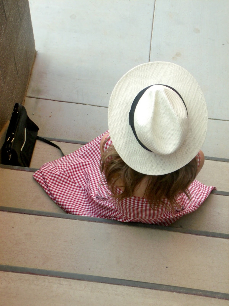 gingham + panama hat