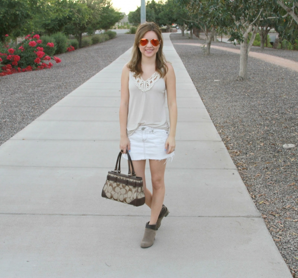 outfit, white denim, booties,