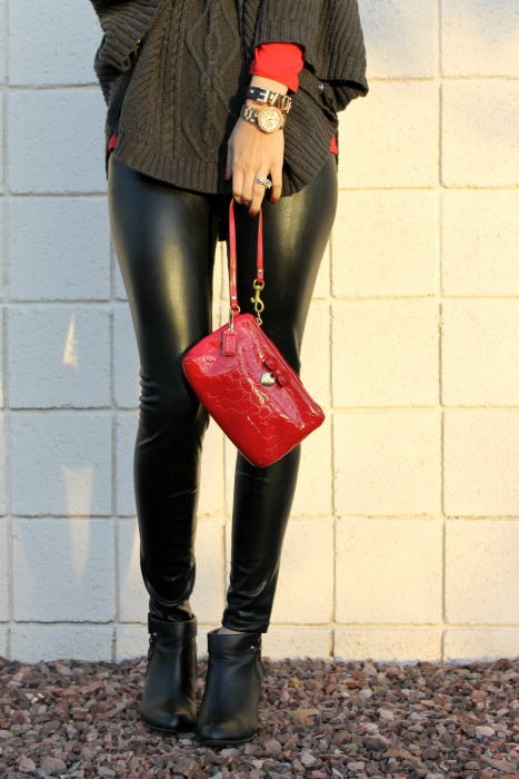 Faux leather leggings, gap, macys, marshalls, coach