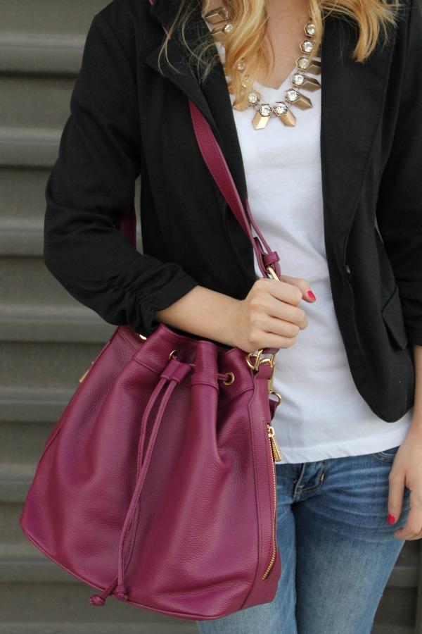 Black Blazer, Denim, Bucket Bag, Casual Outfit, Ora Delphine