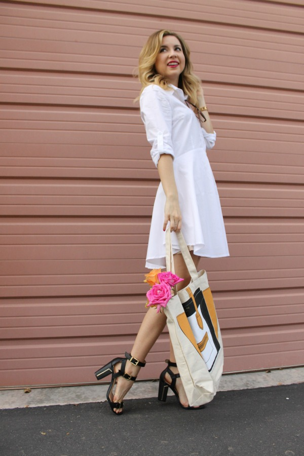 white shirt dress, outfit , sheinside, my other bag , jessica simpson, simply sutter