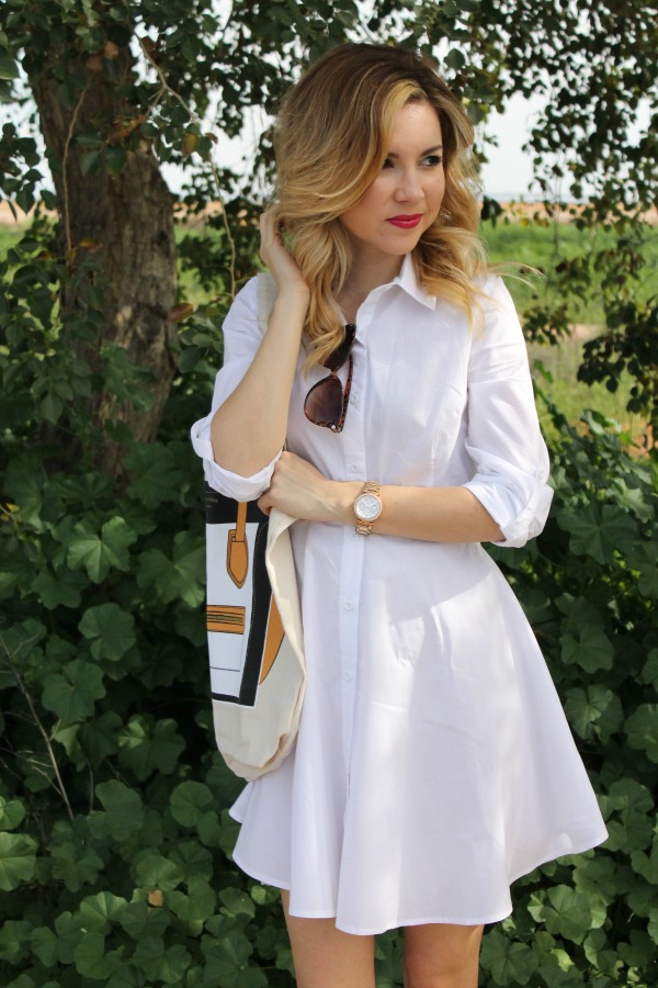 white shirt dress, outfit , sheinside, my other bag , jessica simpson