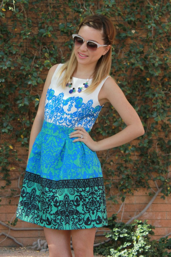 blue and white dress, Jacquard dres, Sping, Summer, Simply Sutter