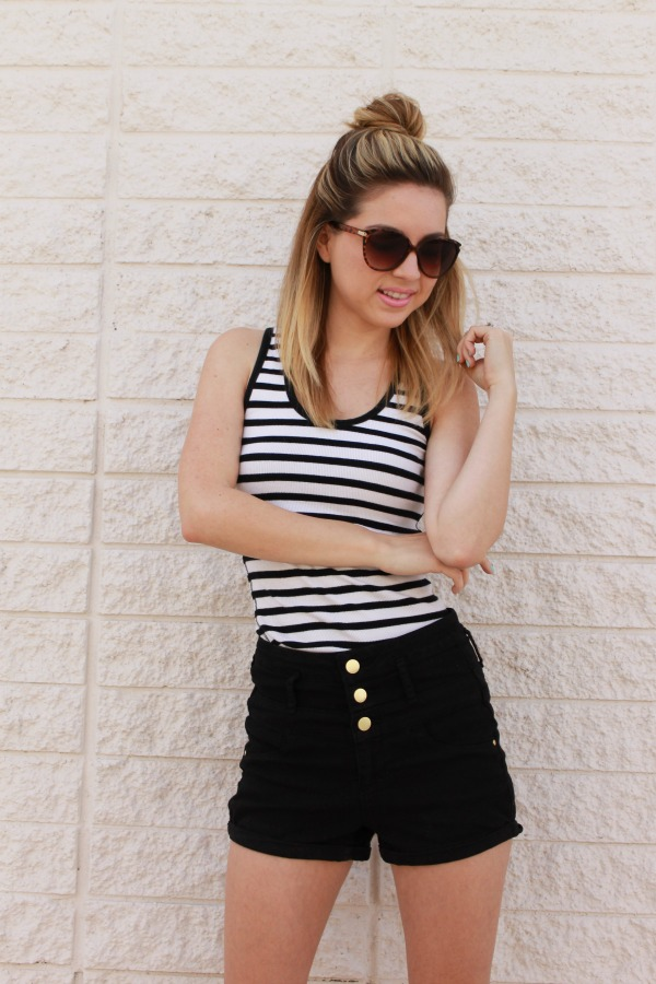 Summer Stripes, Style, High waisted Shorts, Charlotte Russe, Simply Sutter