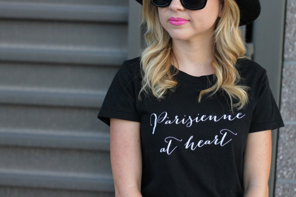 graphic tee, black on black, blush, parisian, kate spade, nordstrom, simply sutter
