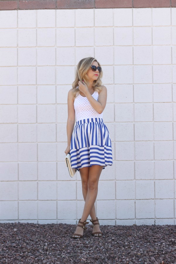 blue striped skirt, mint julep boutique, summer style, simply sutter