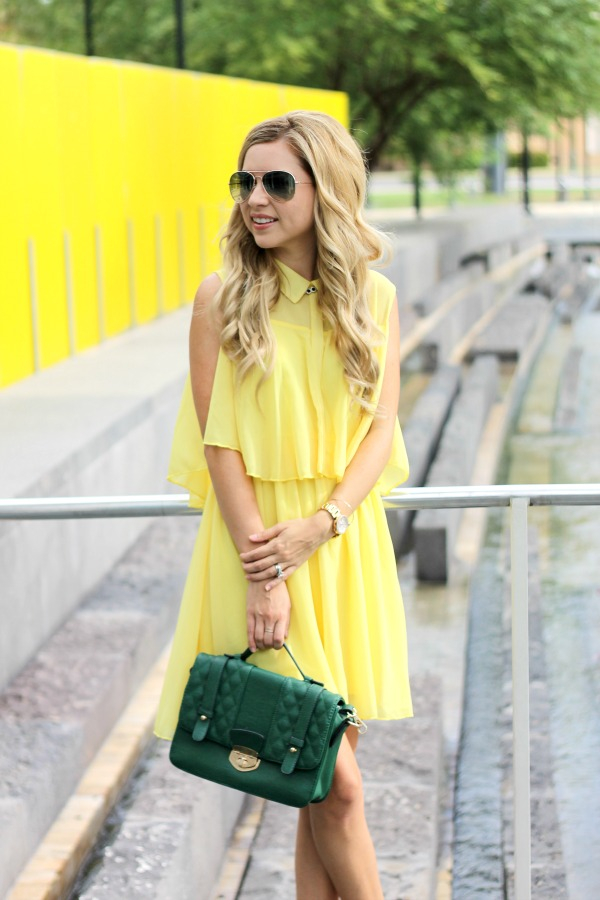 Style check-in, michael hors, nordstrom, yellow dress, fall, spring, Simply Sutter
