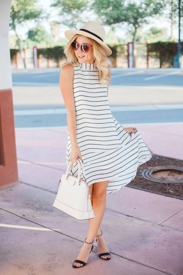 trapeze dress , stripe dress